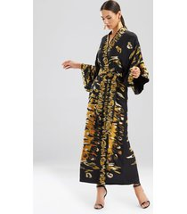 couture tiger stripe robe, women's, black, 100% silk, size s, josie natori