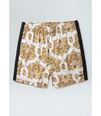 beach short arabesco pine-mostarda/off