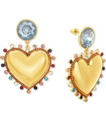 steve madden gold-tone rhinestone heart drop earrings