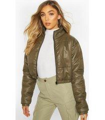 cropped panelled puffer bomber jacket, khaki