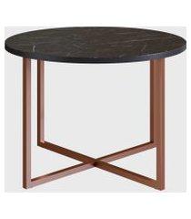 mesa de centro redonda marquina/est. cobre artesano preta