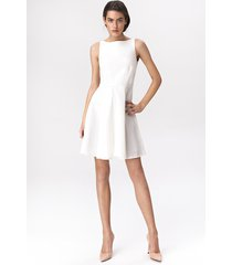 rozkloszowana sukienka mini - ecru
