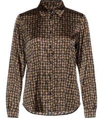 3174 satin - latia blouse lange mouwen bruin sand