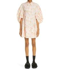 women's simone rocha floral puff sleeve cotton dress, size 0 us - beige