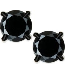 men's black diamond stud earrings in stainless steel (2 ct. t.w.)
