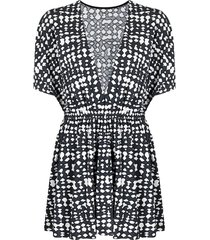 eres zebre abstract-print beach dress - black