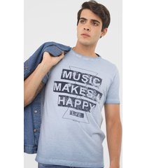 camiseta rock&soda lettering azul - kanui