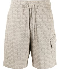 emporio armani monogram-knit cotton bermuda shorts - brown