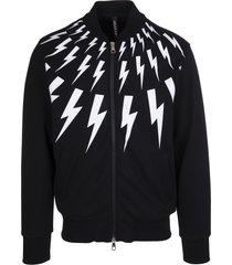 neil barrett man black and white thunderbolt sweatshirt