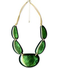 "style & co gold-tone encased shell double cord statement necklace, 21-1/2"" + 3"" extender, created for macy's"