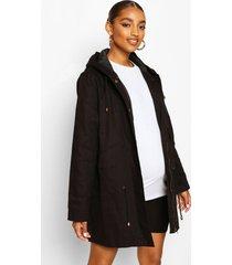 zwangerschap parka jas, zwart
