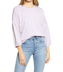 women's madewell crepe drop shoulder bubble sleeve top, size x-small - purple