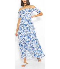 floral shirred off shoulder wrap maxi dress, white