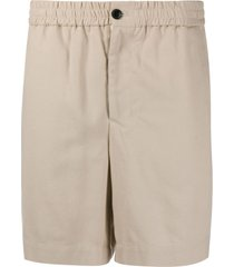 ami paris elasticated waist bermuda shorts - neutrals