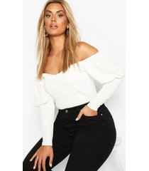 plus off shoulder puff sleeve fitted top, ivory