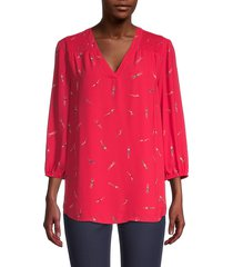 nic+zoe women's bathing beauties printed blouse - cosmo red - size xs