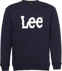 basic crew logo sws sweat-shirt tröja blå lee jeans