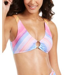rachel rachel roy printed ring-front bralette bikini top women's swimsuit