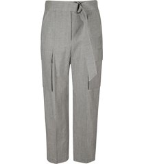 brunello cucinelli straight leg belted cargo trousers