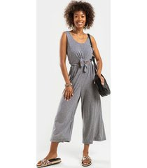 harlow knit cropped jumpsuit - heather gray