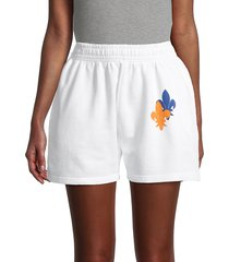 eleven paris women's fleur de lis cotton shorts - white - size m