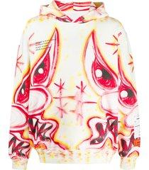 heron preston meanie print pouch pocket hoodie - white