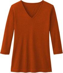 enna biokatoenen shirt met v-hals en 3/4 mouwen, papaya 34