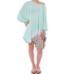 pure-kenya strandjurkje pure kenya batik short dress mint gray-one-size