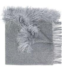 charlotte simone fringed scarf - grey
