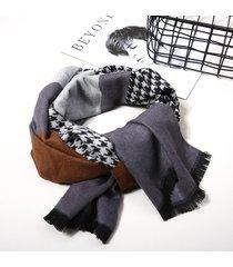 uomo casual sciarpa invernale brushed a pied de poule con frange ad alta qualità di stile business