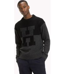 tommy hilfiger men's wool monogram sweater jet black - l