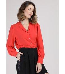camisa feminina ampla manga bufante laranja