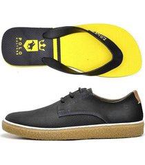kit sapatênis +chinelo top franca shoes masculino - masculino