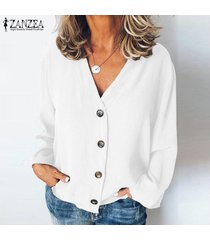zanzea mujeres botones cuello en v camisa de las tapas ocasionales de las señoras de la blusa tops flojos llanura sólido más -blanco