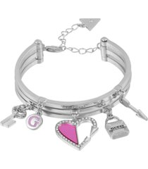 guess silver-tone multi-charm bangle bracelet