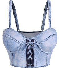 denim print lace up moulded swim top