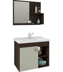 gabinete suspenso para banheiro lótus 46x55cm café e off white