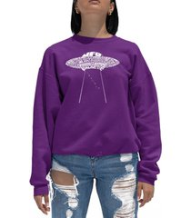 women's word art flying saucer ufo crewneck sweatshirt