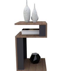 mesa de canto para sala nogueira e preto appunto