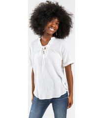 andie lace-up blouse - ivory