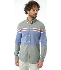 overhemd lange mouw auden cavill ac19sshm3064khaki shirt