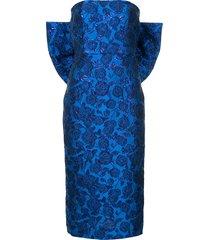 bambah bellflower pencil bow dress - blue