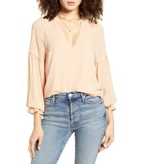 women's all in favor peasant blouse, size large - beige