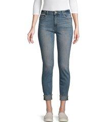 dl1961 premium denim women's folded-cuff skinny jeans - indigo - size 23 (00)