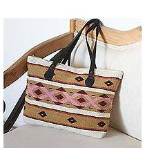 leather accented wool tote, 'jubilant geometrics' (mexico)