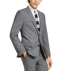 hugo hugo boss men's slim-fit stretch charcoal plaid suit jacket