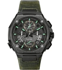 bulova men's precisionist chronograph green leather strap watch 44.7x46.8mm, a special edition