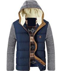 chaqueta abrigo invierno calida hombre gruesa algodon sa830 azul