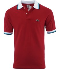 lacoste men's short sleeve polo shirt red size m, l, xl