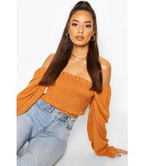 shirred long sleeve off shoulder top, camel